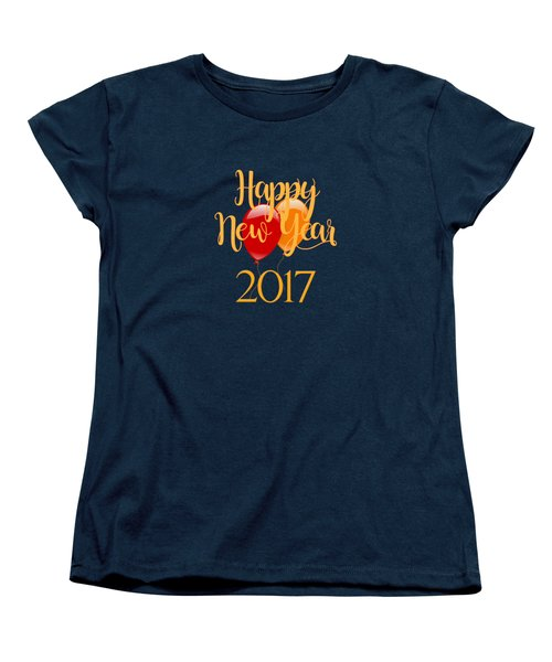 Happy New Year 2017 With Balloons Women's T-Shirt (Standard Cut)