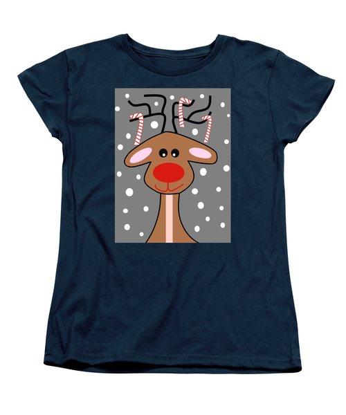 Happy Reindeer Women's T-Shirt (Standard Cut) by Kathleen Sartoris