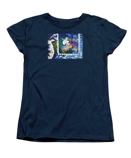 Happy To Be Inside Women's T-Shirt (Standard Cut) by Lynda Cookson