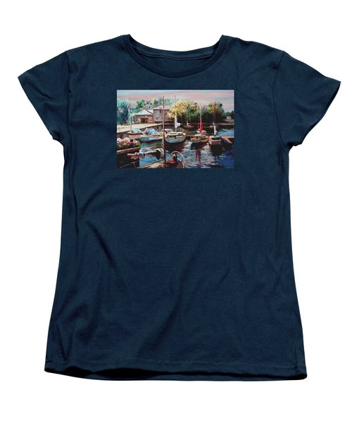 Harbor Sailboats At Rest Women's T-Shirt (Standard Cut) by Ron Chambers