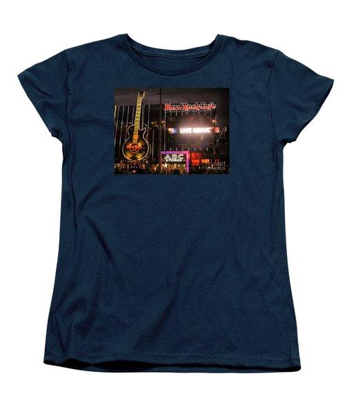 Hard Rock Cafe Las Vegas Strip At Night Women's T-Shirt (Standard Cut) by RicardMN Photography