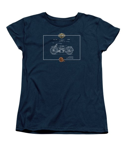 Women's T-Shirt (Standard Cut) featuring the digital art Harley-davidson 1924 Vintage Patent Blueprint  by Serge Averbukh