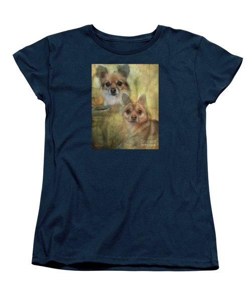 Women's T-Shirt (Standard Cut) featuring the digital art Harley Girl N Bear by Rhonda Strickland