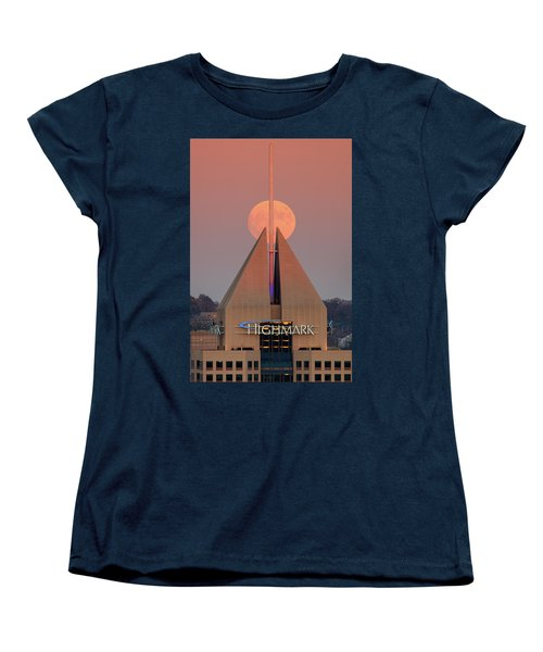 Women's T-Shirt (Standard Cut) featuring the photograph Harvest Moon In Pittsburgh  by Emmanuel Panagiotakis
