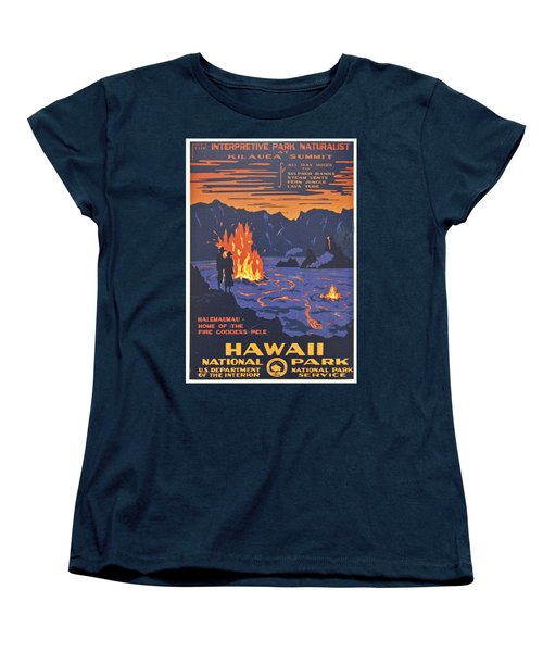 Hawaii Vintage Travel Poster Women's T-Shirt (Standard Cut) by Georgia Fowler
