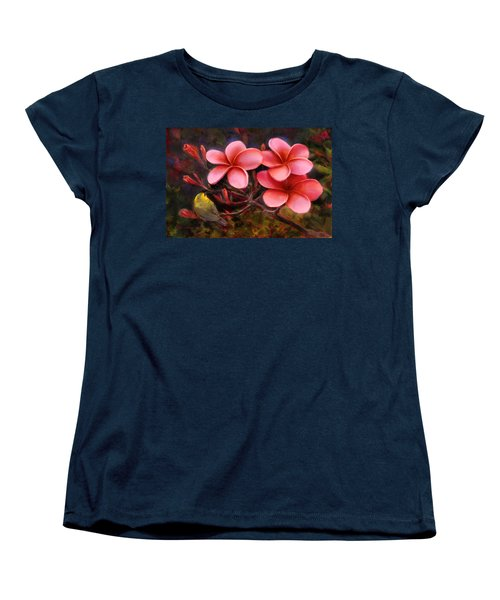 Women's T-Shirt (Standard Cut) featuring the painting Hawaiian Pink Plumeria And Amakihi Bird by Karen Whitworth