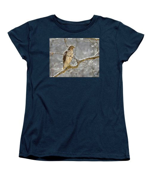 Women's T-Shirt (Standard Cut) featuring the photograph Hawk On Lookout by George Randy Bass