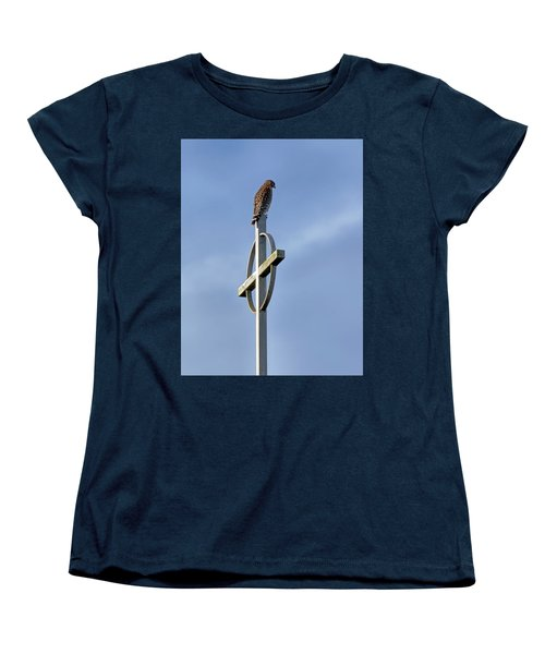Women's T-Shirt (Standard Cut) featuring the photograph Hawk On Steeple by Richard Rizzo
