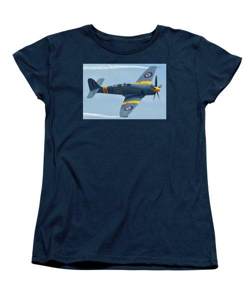 Women's T-Shirt (Standard Cut) featuring the photograph Hawker Sea Fury T20 N924g Chino California April 30 2016 by Brian Lockett