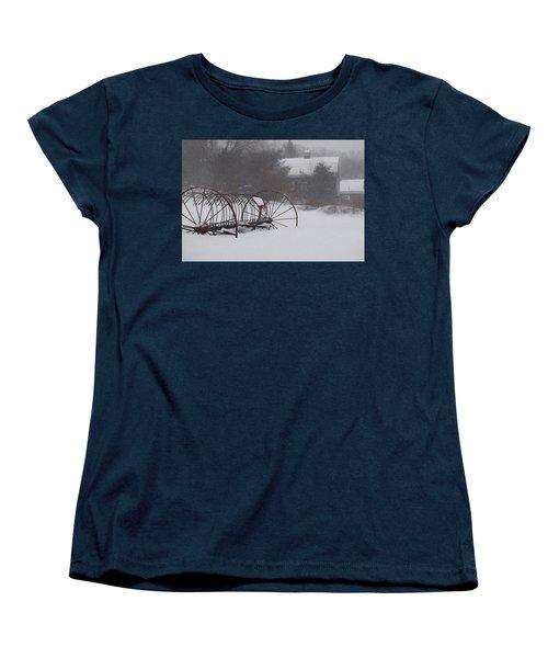 Hay Rake In The Snow Women's T-Shirt (Standard Cut) by Joy Nichols