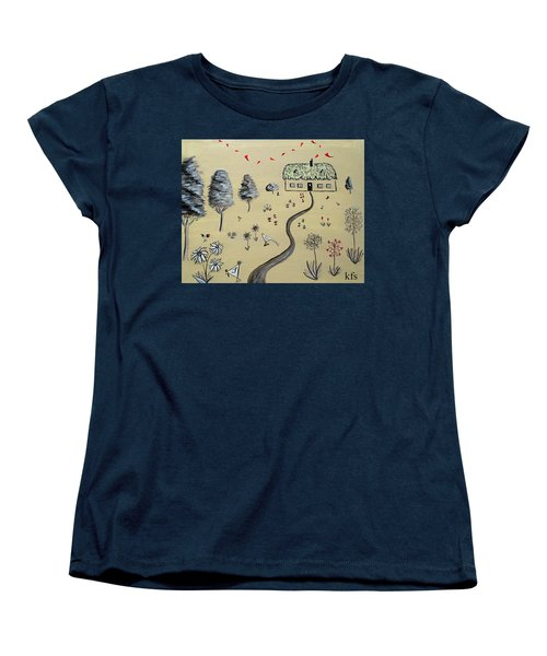 Heart Cottage Red 1  Women's T-Shirt (Standard Cut) by Kathy Spall