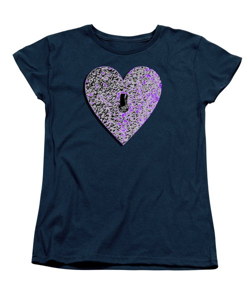 Women's T-Shirt (Standard Cut) featuring the photograph Heart Shaped Lock Purple .png by Al Powell Photography USA