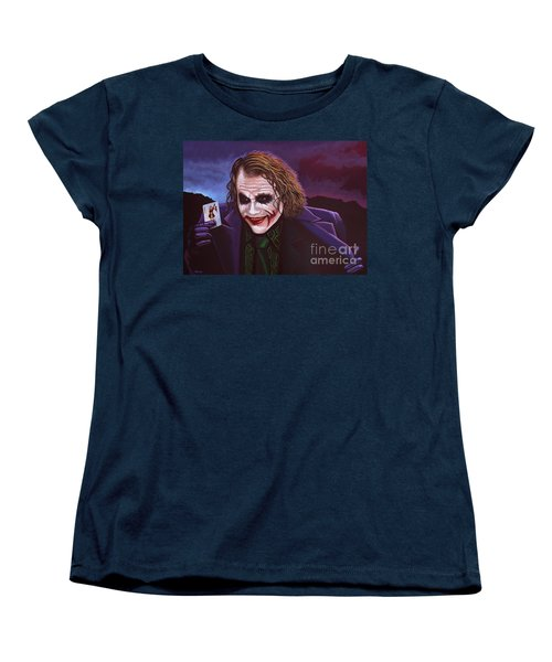 Heath Ledger As The Joker Painting Women's T-Shirt (Standard Cut) by Paul Meijering