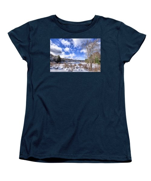 Women's T-Shirt (Standard Cut) featuring the photograph Heavy Snow At The Green Bridge by David Patterson