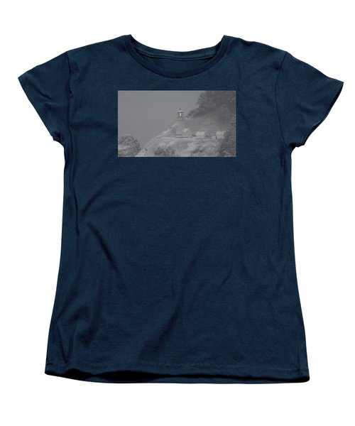 Women's T-Shirt (Standard Cut) featuring the photograph Heceta Lighthouse Snowstorm by Kenny Henson