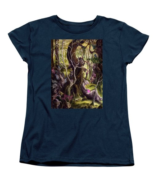 Women's T-Shirt (Standard Cut) featuring the painting Heist Of The Wizard's Staff by Curtiss Shaffer