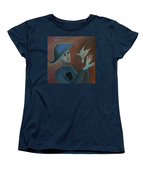 Women's T-Shirt (Standard Cut) featuring the painting Hello To You by Tone Aanderaa