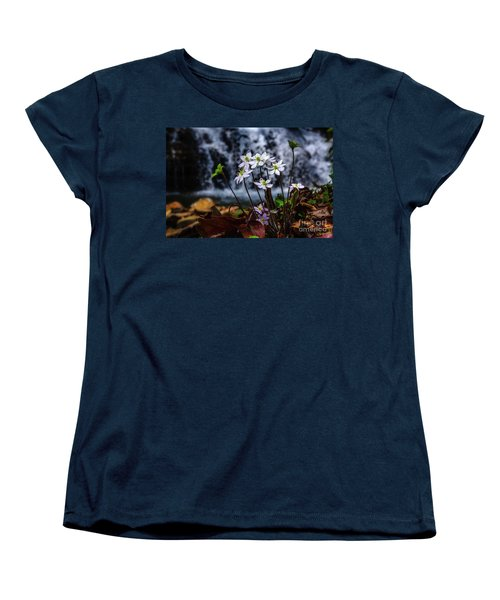 Women's T-Shirt (Standard Cut) featuring the photograph Hepatica And Waterfall by Thomas R Fletcher