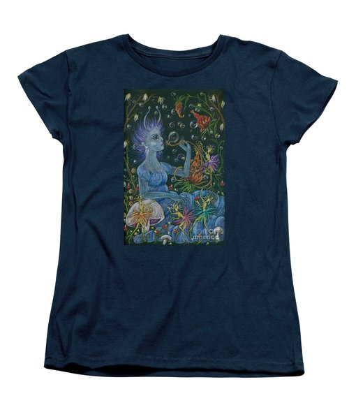 Women's T-Shirt (Standard Cut) featuring the drawing Her Caterpillar Majesty by Dawn Fairies