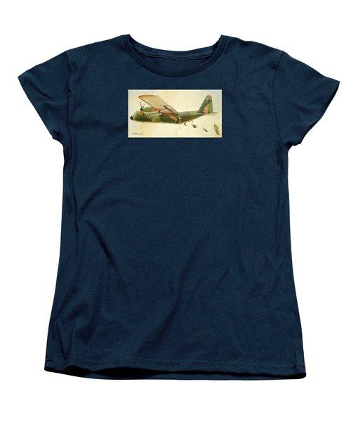 Women's T-Shirt (Standard Cut) featuring the painting Hercules Paratroop Drop by Paul Clinkunbroomer