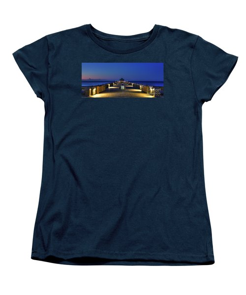 Women's T-Shirt (Standard Cut) featuring the photograph Here It Comes Now Folly Beach Pier Sunrise Art by Reid Callaway