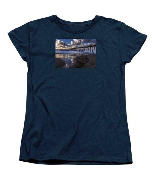 Hermosa Beach Pier Women's T-Shirt (Standard Cut) by Ed Clark