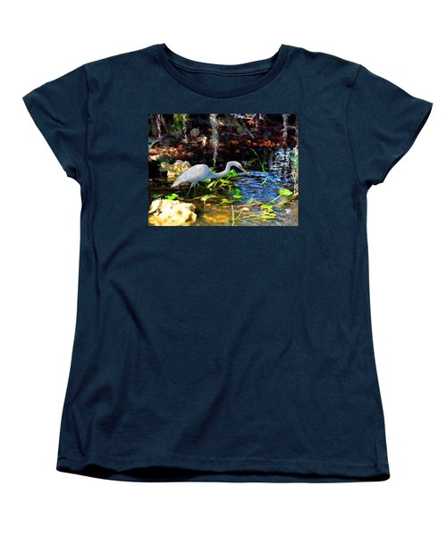 Women's T-Shirt (Standard Cut) featuring the painting Heron In Quiet Pool by David  Van Hulst