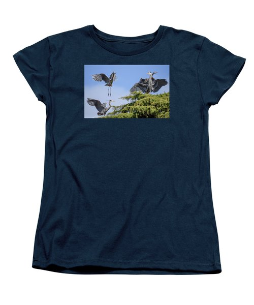 Herons Mating Dance Women's T-Shirt (Standard Cut) by Keith Boone