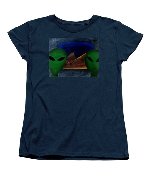 Women's T-Shirt (Standard Cut) featuring the painting Hey Bob, I Think They Are Following Us.. by Lola Connelly