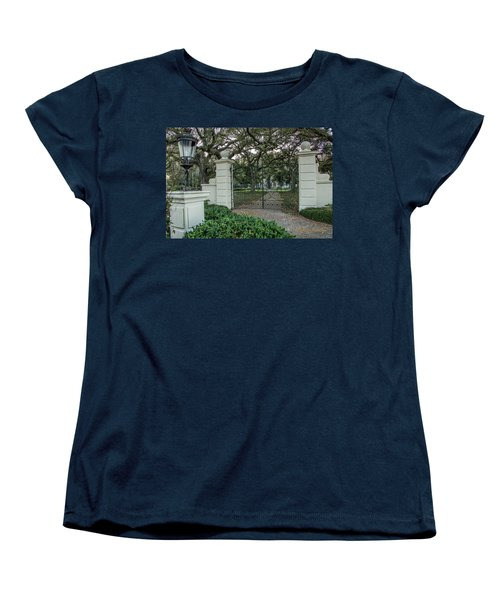 Women's T-Shirt (Standard Cut) featuring the photograph Heyman House Gates by Gregory Daley  PPSA