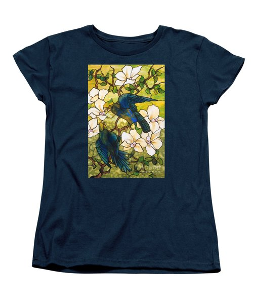 Hibiscus And Parrots Women's T-Shirt (Standard Cut) by Louis Comfort Tiffany