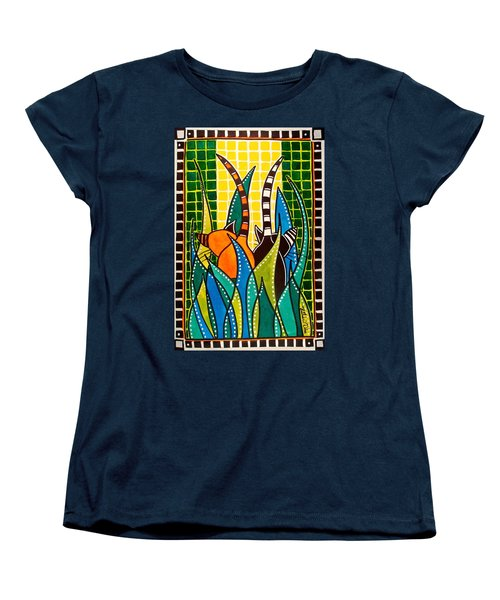 Women's T-Shirt (Standard Cut) featuring the painting Hide And Seek - Cat Art By Dora Hathazi Mendes by Dora Hathazi Mendes