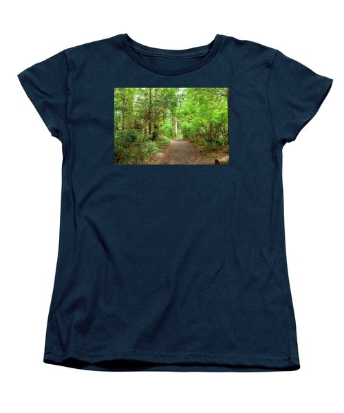 Hiking Trail Through Forest Along Lewis And Clark River Women's T-Shirt (Standard Fit)