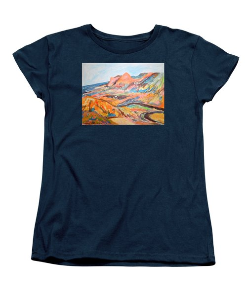 Hills Flowing Down To The Beach Women's T-Shirt (Standard Cut) by Esther Newman-Cohen