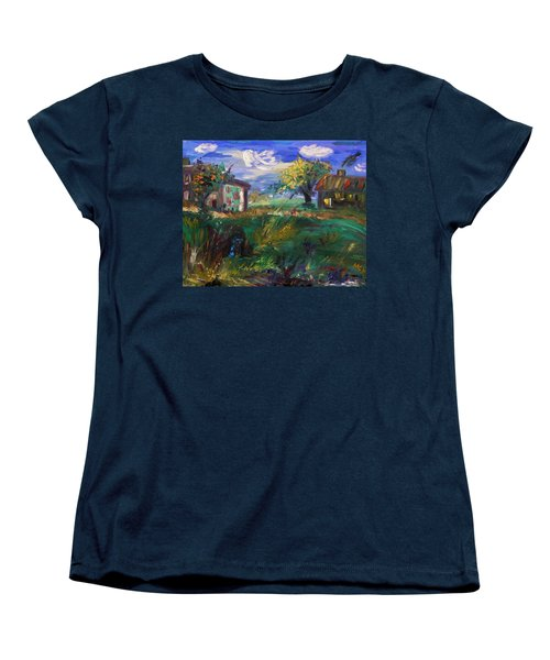 Women's T-Shirt (Standard Cut) featuring the painting Hillside Tranquility by Mary Carol Williams