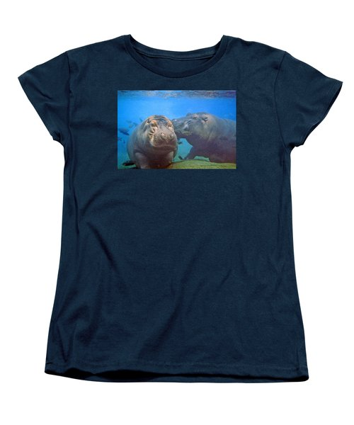 Hippos In Love Women's T-Shirt (Standard Cut) by Steve Karol