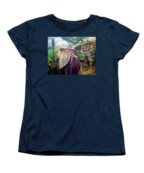 Women's T-Shirt (Standard Cut) featuring the painting Hobbit by Paul Weerasekera