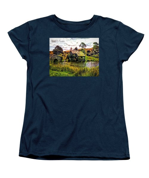 Women's T-Shirt (Standard Cut) featuring the photograph Hobbiton Mill And Bridge by Kathy Kelly