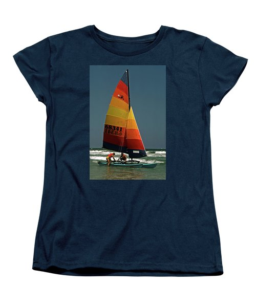 Women's T-Shirt (Standard Cut) featuring the photograph Hobie Cat In Surf by Sally Weigand