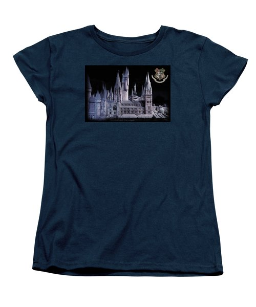 Women's T-Shirt (Standard Cut) featuring the mixed media Hogwards School  by Gina Dsgn