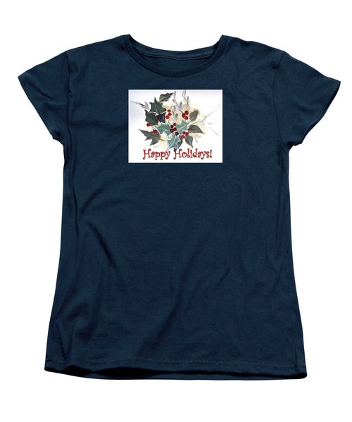 Women's T-Shirt (Standard Cut) featuring the painting Holidays Card -1 by Dorothy Maier