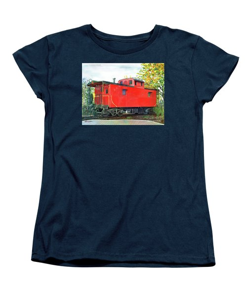 Women's T-Shirt (Standard Cut) featuring the painting Holland Michigan Caboose by LeAnne Sowa
