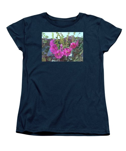Women's T-Shirt (Standard Cut) featuring the painting Hollyhock Necklace by Jane Autry