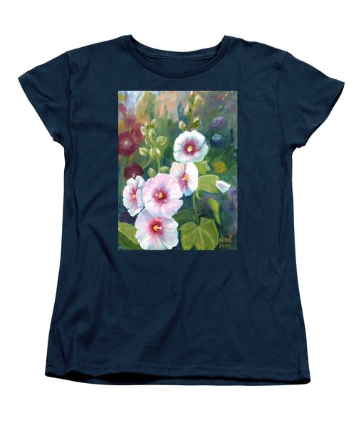 Women's T-Shirt (Standard Cut) featuring the painting Hollyhocks by Renate Nadi Wesley