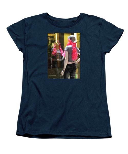 Women's T-Shirt (Standard Cut) featuring the photograph Hollywood Pink Hair In Window by Cheryl Del Toro