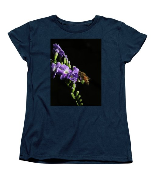 Honeybee On Golden Dewdrop Women's T-Shirt (Standard Cut) by Richard Rizzo