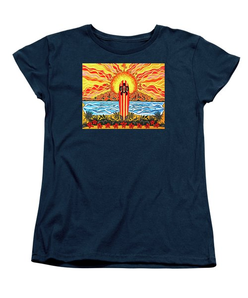 Honu Surf Women's T-Shirt (Standard Cut) by Debbie Chamberlin