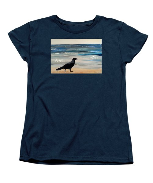 Hooded Crow At The Black Sea By Dora Hathazi Mendes Women's T-Shirt (Standard Cut) by Dora Hathazi Mendes