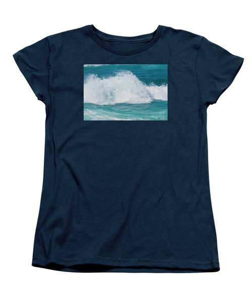 Women's T-Shirt (Standard Cut) featuring the photograph Hookipa Splash Waves Beach Break Shore Break Pacific Ocean Maui  by Sharon Mau