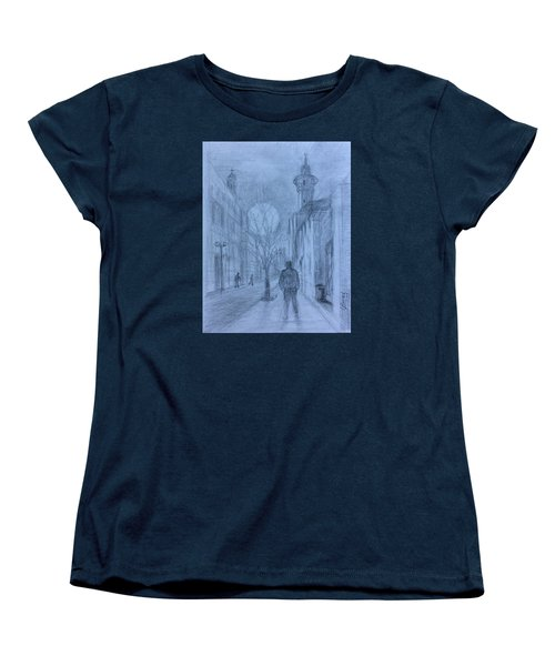 Women's T-Shirt (Standard Cut) featuring the painting  Moon Of Hope by Laila Awad Jamaleldin